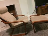 Armchairs with footstool x 2 faux suede