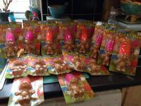 Job lot of vintage x15 retro troll dolls new in packaging pink orange succulent craft