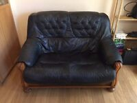 2 Seater Leather sofa Blue/Green (Free to collect as I need the space)