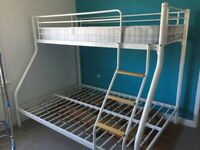 FREE white metal frame triple sleeper with single mattress only