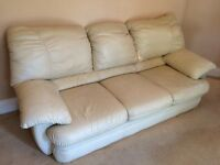 2 single and a 3 seater cream leather sofa