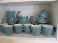 Set of blue white Poole tableware coffee tea plates saucers jug bowl