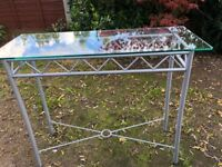 6cf29b27f8 Thick Glass Side Table on Silver Aluminium frame