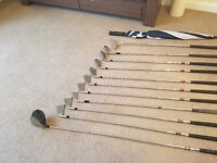 Howson derby golf clubs (full set), Maxfli golf bag, golf tees, golf balls, golf umbrella
