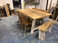 Lovely farmhouse table chairs and benches