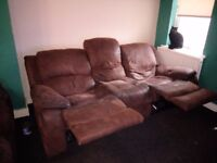 2 x 3 seater soft leather reclining brown sofas