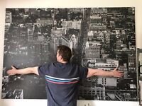 Stretched canvas PRINT, NEW YORK Broadway black and white (XL 140x200cm, 55x79 inches)
