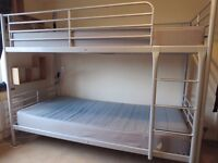 IKEA metal bunk beds with two Bunky lights - sold with or without mattresses