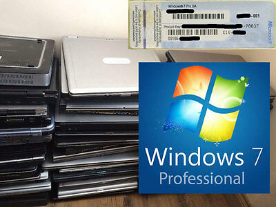 Windows 7 Professional Pro Key License Product COA 32 64bit Scrap Dell HP Laptop