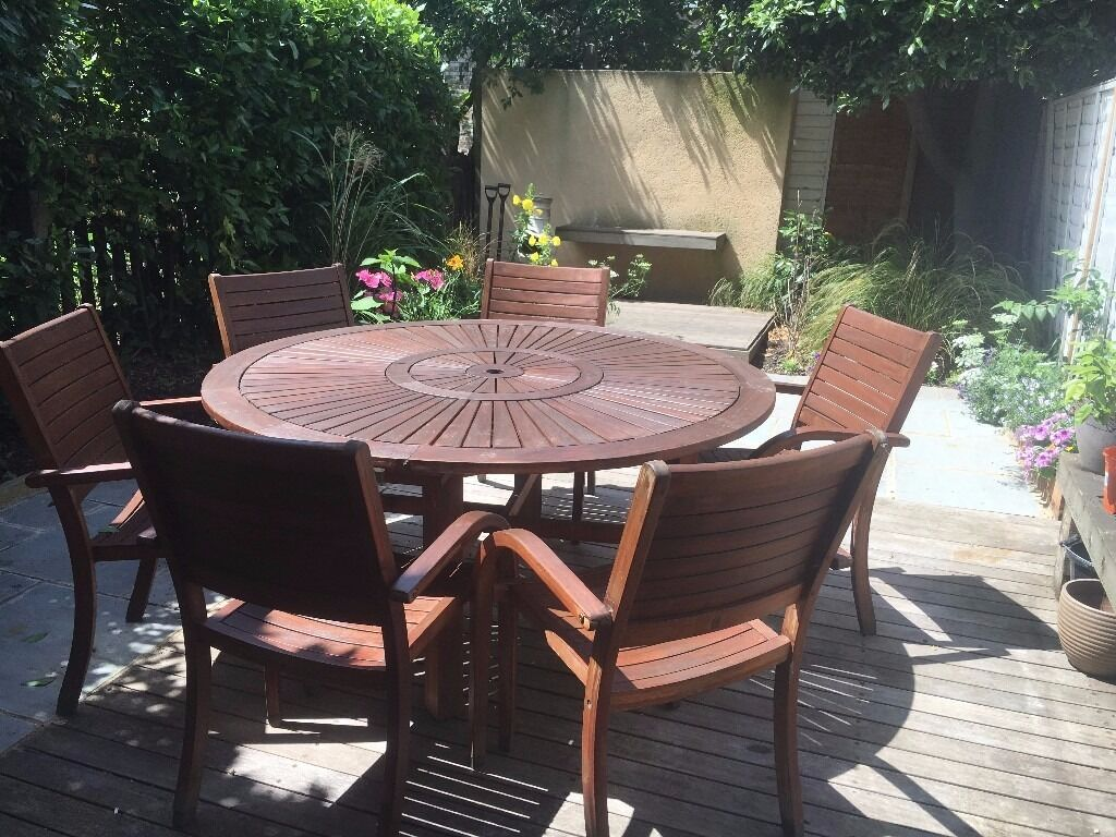Homebase Almeria 6 Seater Round Wooden Garden Furniture
