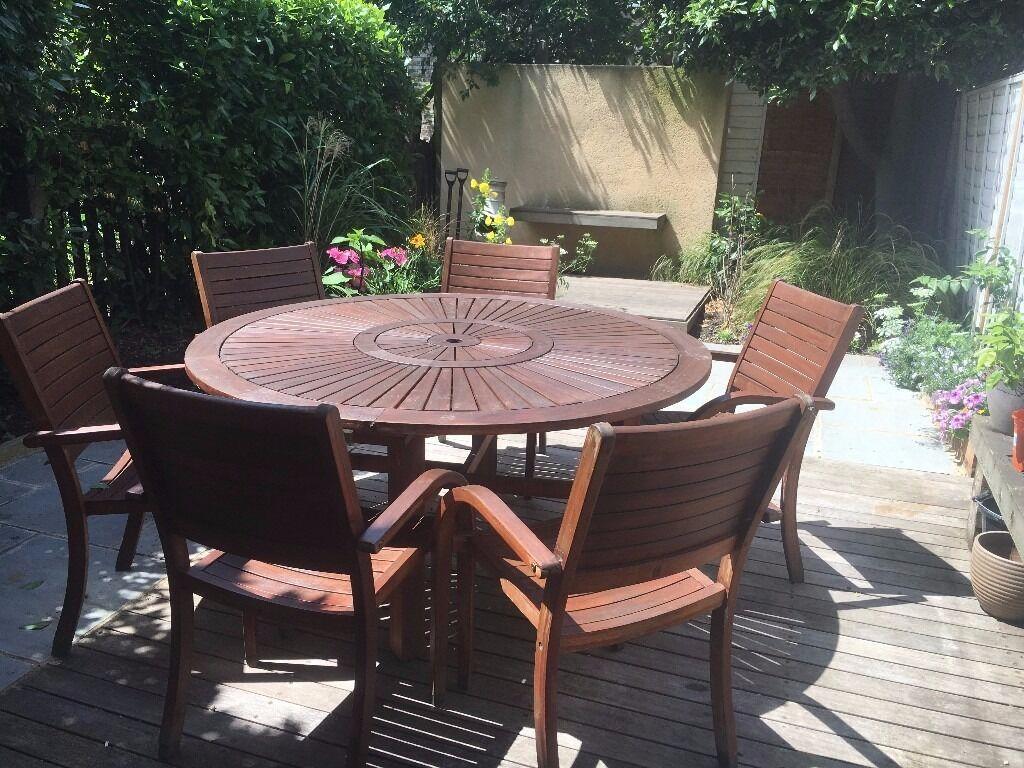 homebase almeria 6 seater round wooden garden furniture set originally bought for 300