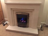Limestone Fireplace with gas coal effect insert