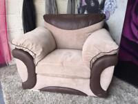 New Maze Fabric Armchair In Chocolate And Latte