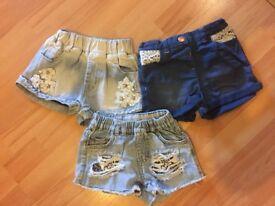 girls shorts 2-3years