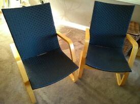 Armchairs X 2, wooden with black seat and backs