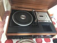 Vintage Record player with cassette with speakers