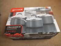 ( New in box ) Go Cook 3 piece Hard Anodised Saucepan Set with Lids £30