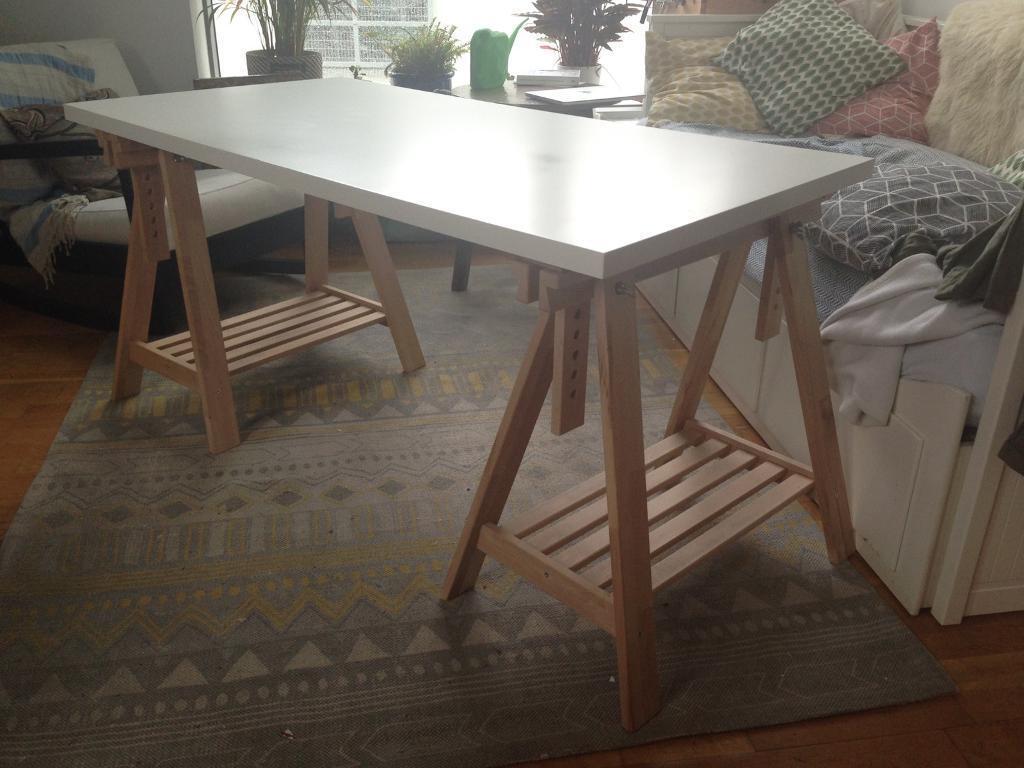 Large adjustable ikea white trestle desk finnvard linnmon in