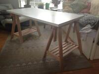 Large adjustable Ikea white trestle desk - Finnvard / Linnmon