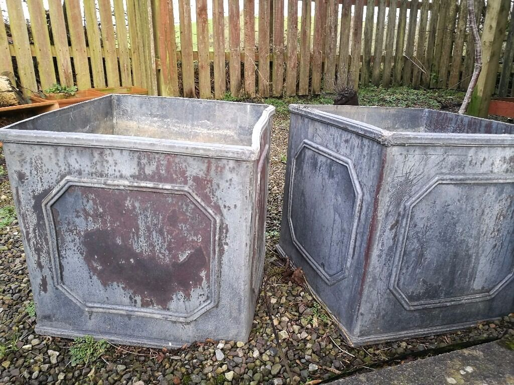 2 Lead Planters In Very Good Condition 15 Inch Cubed Ideal For Small