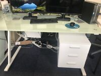 5 glass topped office tables - job lot