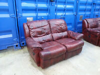 Brown leather sofa with electric tilt back and leg support