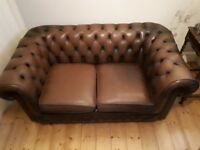 Vintage Thomas Lloyd Chesterfield 2 Seater Leather Sofa