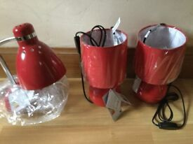 Ideal for Uni, First Flat etc - Brand New Lamps- Two Matching, One Reading/Study Lamp