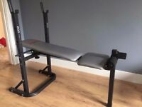 York Fitness weights bench. Barbell included