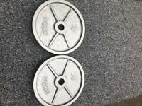 X2 50KG SOLID OLYMPIC WEIGHT PLATES LIKE NEW