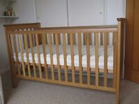 John Lewis Lasko Cotbed Oak and pocket sprung matress