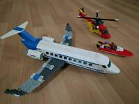 Lego airplane 3181, helicopter 5866 and speed boat 4641