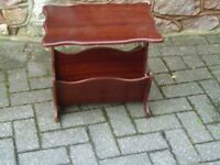 Magazine paper rack, brown hard wood, good condition