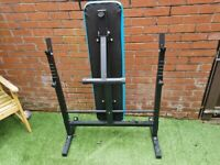 Mens health folding weight bench with 2 bars and over 100 kg of weight plates