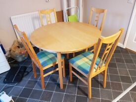 Ikea Round Extending Dining Table & 4 Aaron Chairs (Multi colour seats) FREE DELIVERY 671