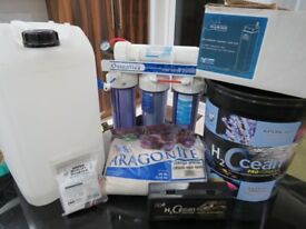 Refractometer, Hydor Slimskin Nano Skimmer, Reverse Osmosis Unit, 2 Containers & 2 Salifert Tests