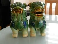 Pair Chinese Fengshui Lion Statue Foo Dogs