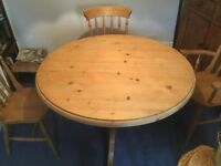 "Beautiful Solid Pine Dining Table - 2"" thick top and heavy solid pedestal leg - not laquered"