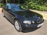 BMW 318I COMPACT 04 REG IN BLACK WITH GREY TRIM,SERVICE HISTORY AND MOT JUNE 2019