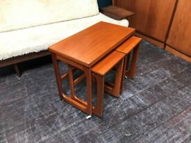 Teak Triform Metamorphic Nest of Tables by McIntosh of Kirkcaldy. Retro Vintage Mid Century