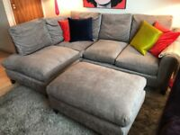 Laura Ashley L-Shaped Grey Sofa Couch With Footstool
