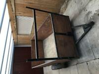 Trailer 6ft 6in x 4ft x23in deep with ladder rack and opening tailgate.