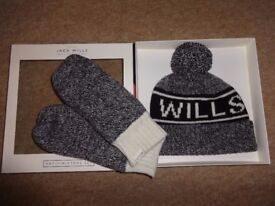 Jack Wills brand new unisex wool blend hat & mittens BOXED gift set, RRP £39.50! Fab Xmas present!