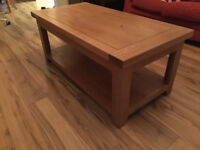 Luxury Cordoba Solid Oak Coffee Table with Shelf (Like new)