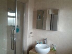 Bathroom washstand in oak with round ceramic bowl and tap and mirrored bathroom cabinet