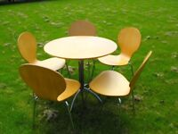 Kitchen/Dining BEECHWOOD & CHROME Round 80cm Diam.TABLE + 5 Matching CHAIRS