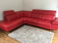 Red DFS corner sofa