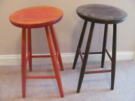 Wooden Bar Stools in red and brown stain.