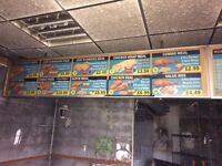 2 Menu Boards for Restaurant or takeaway 2.4m long, 0.58m and 2.95m Long, 0.58m Wide