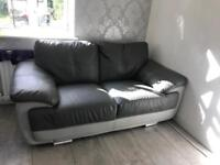 3 and 2 seater grey 2 tone leather setee